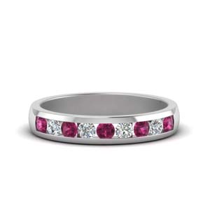 channel diamond wedding band with pink sapphire in 14K white gold FDMR1098GSADRPI NL WG