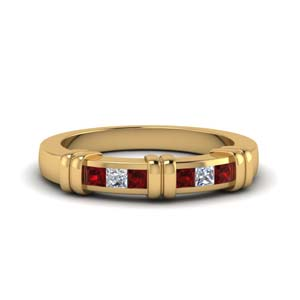 0.50 Ct. Princess Cut Ruby Women Band