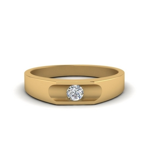 Solitaire Mens Wedding Band