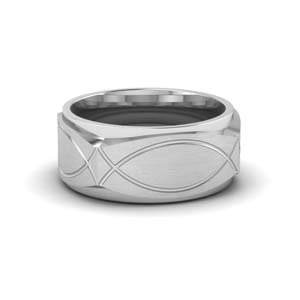 9mm Square Platinum Wedding Band