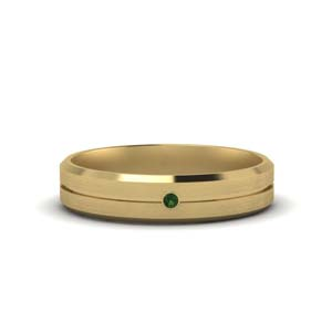 18K Gold Emerald Men Band