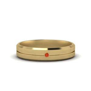 Orange Topaz Solitaire Beveled Band