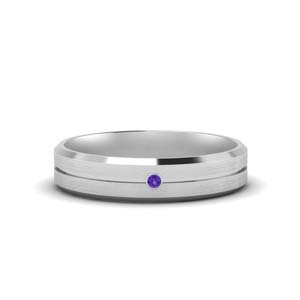 Purple Topaz Men Wedding Band