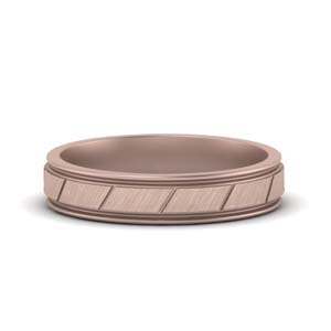 14K Rose Gold Brushed Finish Wedding Band