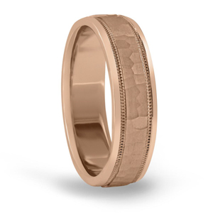 Rose Gold Classic Hammered Wedding Band