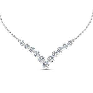 0.70 ct. round diamond graduated V necklace in 18K white gold FDNK8068 NL WG