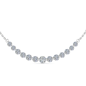 14K White Gold Smile Diamond Necklace