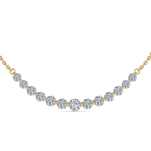 18K Yellow Gold 13 Round Diamond Pendant