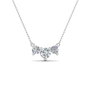 half carat 3 stone anniversary necklace in 14K white gold FDNK8065 NL WG