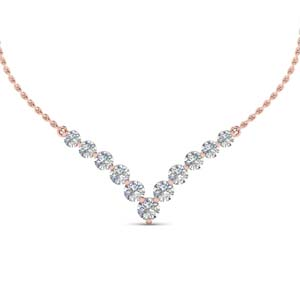 0.70 ct. round diamond graduated V necklace in 18K rose gold FDNK8068 NL RG