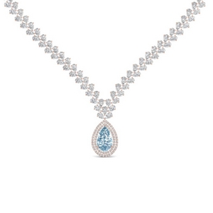 Aquamarine Teardrop Leaf Necklace