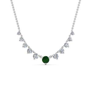 Graduated Necklace With Emerald