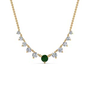 Emerald Graduated Diamond Necklace