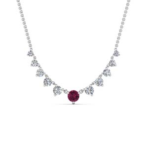Pink Sapphire Delicate Diamond Necklace