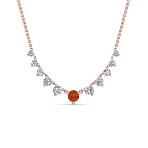 Rose Gold Orange Sapphire Necklace