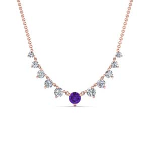 Purple Topaz Graduated Diamond Necklace