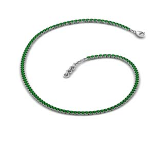 3.50 Ct. Tennis Emerald Necklace