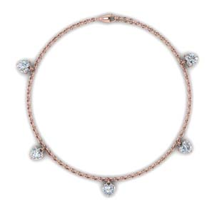 Rose Gold Choker Station Necklace