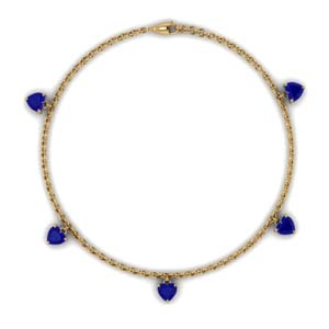 Choker Station Necklace With Sapphire