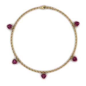 Station Necklace With Pink Sapphire