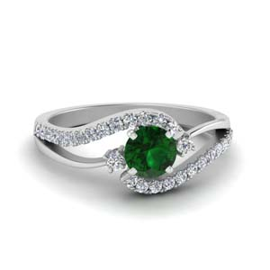 swirl 3 stone emerald engagement ring in FDO50895RORGEM NL WG