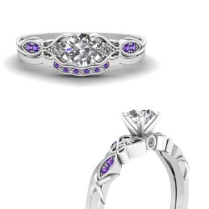 Purple Topaz Round Bridal Set