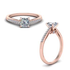 Asscher Cut Milgrain Engagement Rings