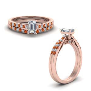 High Set Orange Sapphire Ring Set