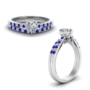 heart shaped high set milgrain diamond wedding ring set with sapphire in FDO50845HTGSABLANGLE1 NL WG
