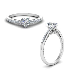 heart shaped high set milgrain diamond engagement ring in FDO50845HTRANGLE1 NL WG
