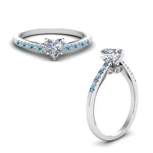 heart shaped high set milgrain diamond engagement ring with blue topaz in FDO50845HTRGICBLTOANGLE1 NL WG