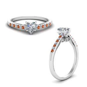 Orange Sapphire High Set Ring