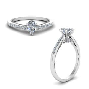 Heart Shaped Milgrain Engagement Rings