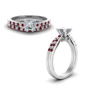 High Set Ruby Wedding Ring Set