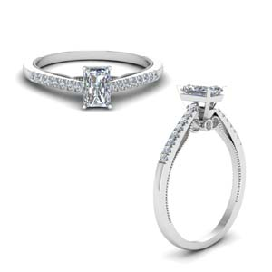 Radiant Cut Milgrain Engagement Rings