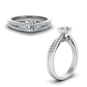 round cut high set milgrain diamond wedding ring set in FDO50845ROANGLE1 NL WG