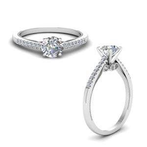 Round Cut Milgrain Engagement Ring