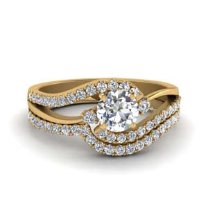 round cut 3 stone diamond swirl bridal set in 14K yellow gold FDO50895RO NL YG