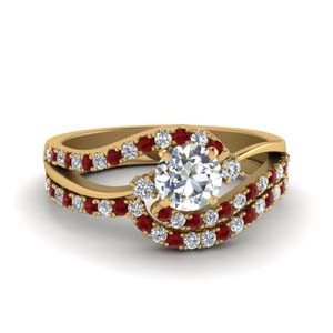 round cut 3 stone diamond swirl bridal set with ruby in 14K yellow gold FDO50895ROGRUDR NL YG