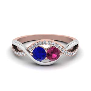 Twin Sapphire Twisted Band