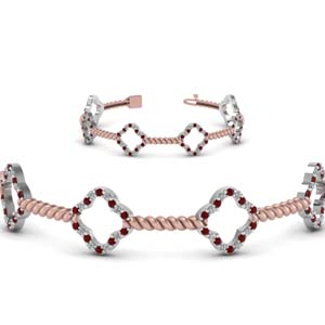 Two Tone Rope Ruby Bracelet