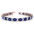 oval sapphire with diamonds bracelet in 14K rose gold FDOBR70033OVANGLE2 NL RG
