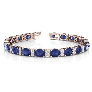oval sapphire with diamonds bracelet in FDOBR70033OVANGLE2 NL RG