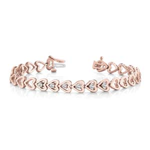 Heart Linked Diamond Bracelet