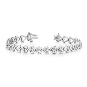 Linked Heart Bracelet 18K White Gold