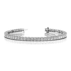 18K White Gold Princess Cut Bracelet