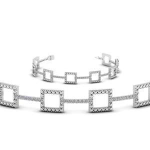 Milgrain Square Diamond Bracelet