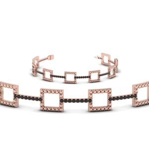 Milgrain Square Black Diamond Bracelet