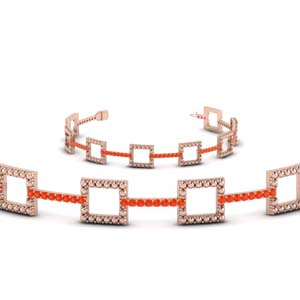 Orange Topaz Square Bracelet
