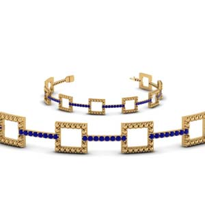 milgrain square sapphire bracelet in 14K yellow gold FDOBR70335GSABLANGLE2 NL YG GS
